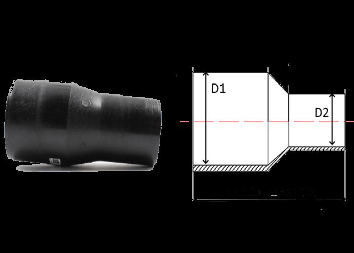 переходы удлиненные литые ПЭ 100 SDR 11 диаметры 280х250